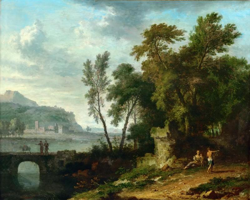 Jan van Huysum (1682-1749) -- Landscape with Figures, Ruins, and Bridge. Part 5 Louvre