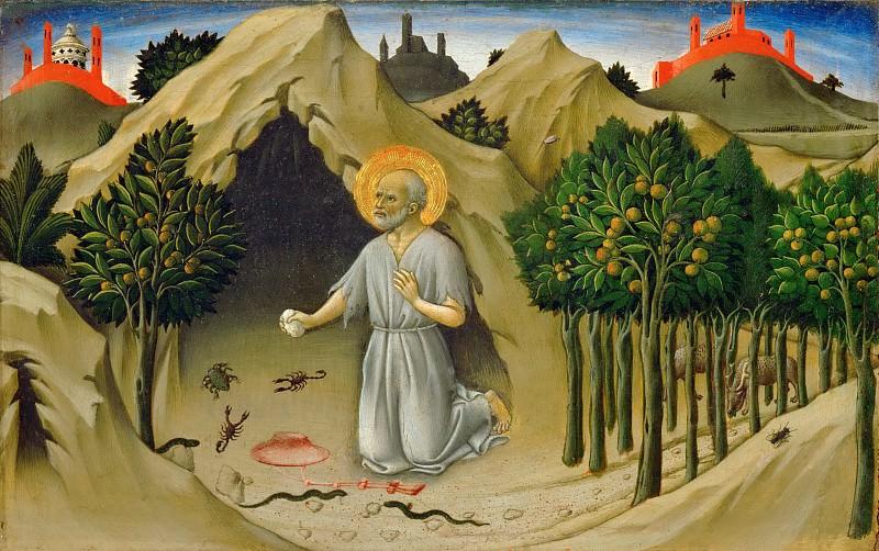 Сано ди Пьетро (Сиена 1406 - 1481) -- Святой Иероним, фрагмент пределлы алтаря. часть 5 Лувр