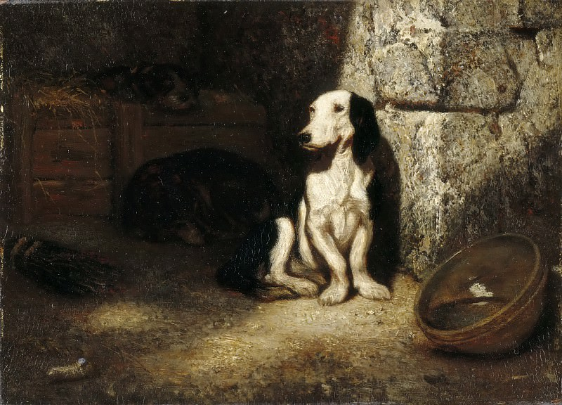 Alexandre-Gabriel Decamps -- Black and white basset hound. Part 5 Louvre