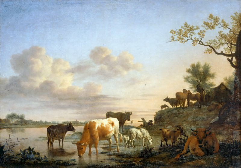 Adriaen van de Velde -- Landscape: Animals at the River. Part 5 Louvre