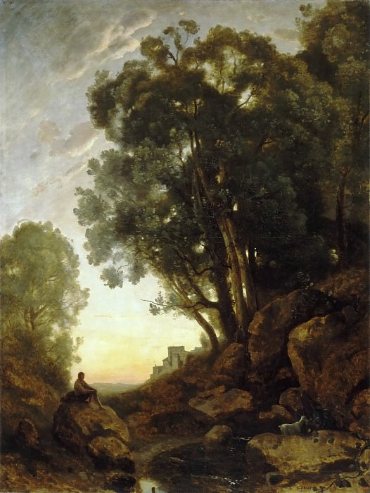 Jean-Baptiste-Camille Corot -- The Italian Goatherd. Effect of the Setting Sun.. Part 5 Louvre
