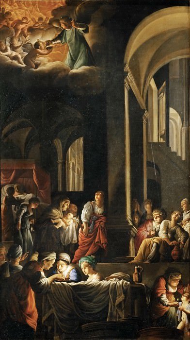 Carlo Saraceni (c. 1579-1620) -- Birth of the Virgin Mary. Part 5 Louvre