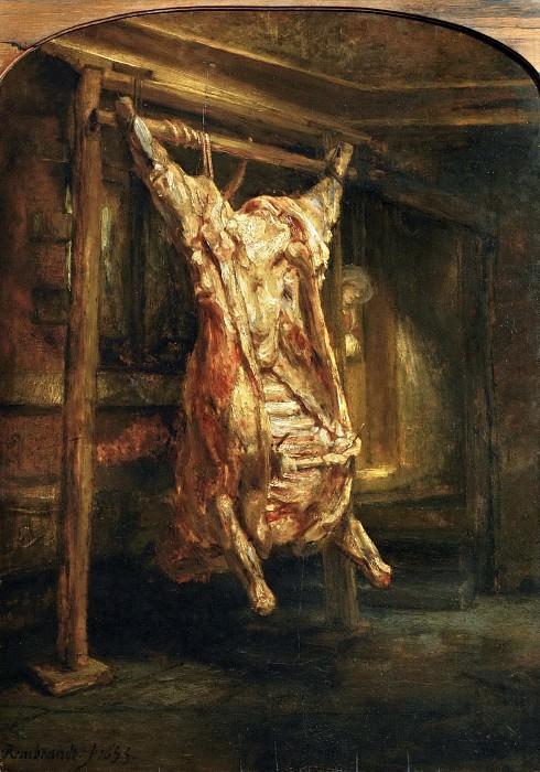 Rembrandt van Rijn -- Slaughtered Ox. Part 5 Louvre
