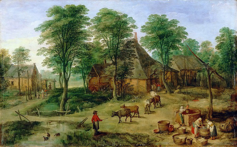 Jan Brueghel the Younger; formerly attributed to Paul Bril -- Farmyard (Cour de ferme). Part 5 Louvre