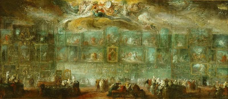 Gabriel de Saint-Aubin (1724-1780) -- View of the Salon of 1779. Part 5 Louvre