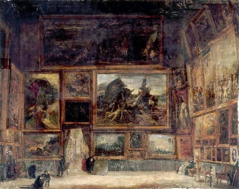Мелло, Николя-Себастьян -- Вид Квадратного Салона в Лувре в 1831 году. часть 5 Лувр