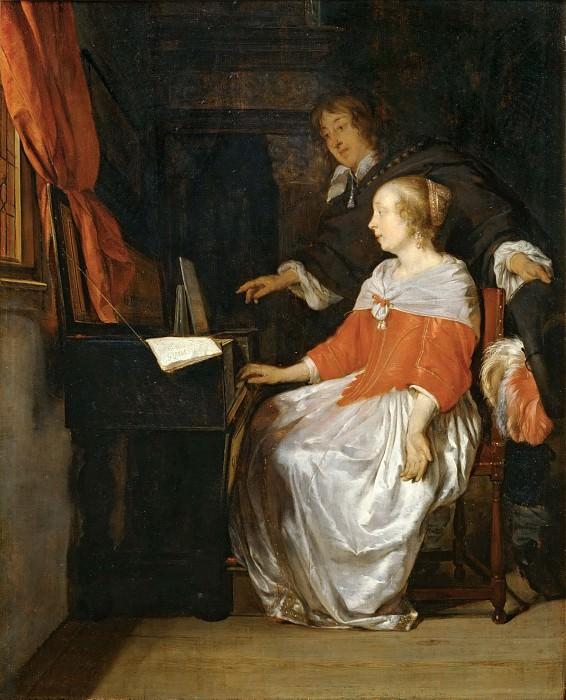 Gabriel Metsu -- Lesson on the Virginal. Part 5 Louvre