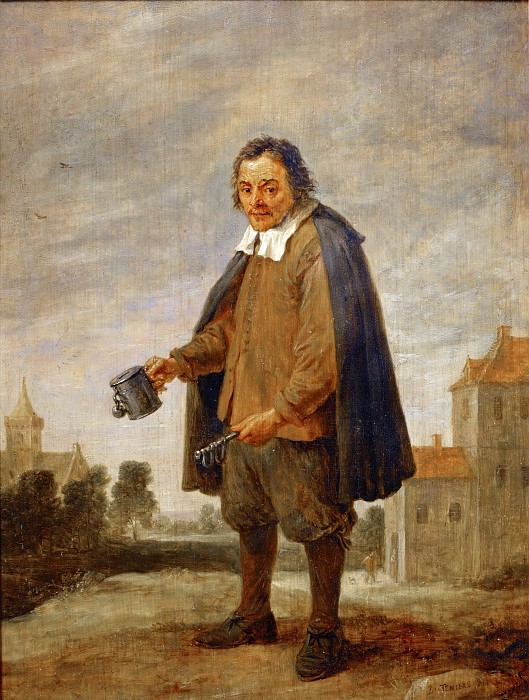 David Teniers II -- Mendicant with a rattle in his hand. Part 5 Louvre