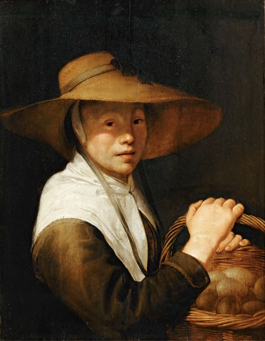 Jacob Gerritsz. Cuyp -- Young Girl with a Basket of Eggs. Part 5 Louvre
