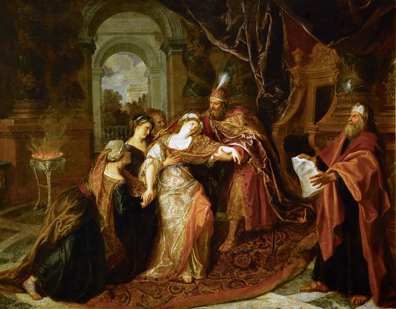 Antoine Coypel -- The Swooning of Esther. Part 5 Louvre