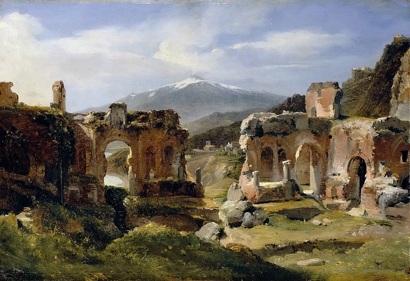 Achille Etna Michallon -- Ruins of the theater at Taormina. Part 5 Louvre
