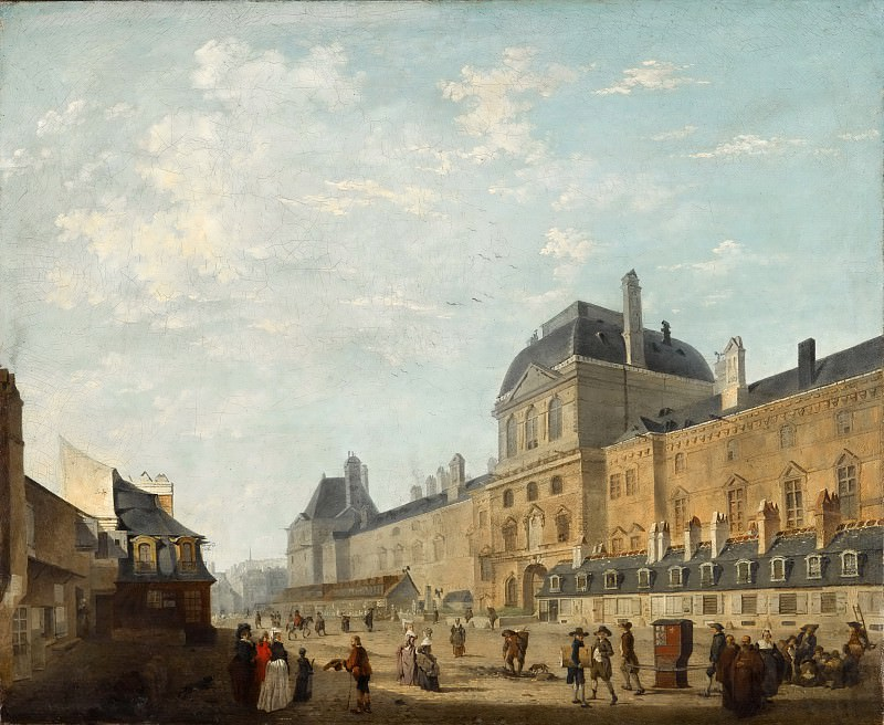 Philibert Louis Debucourt -- The facade of the Louvre from the Rue Fromenteau. Part 5 Louvre