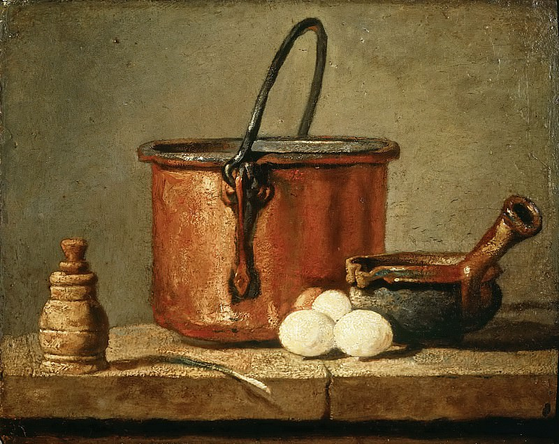 Jean-Siméon Chardin -- Tinned Copper Pot, Pepper Box, Leek, Three Eggs, and a Casserole on a Table. Part 5 Louvre