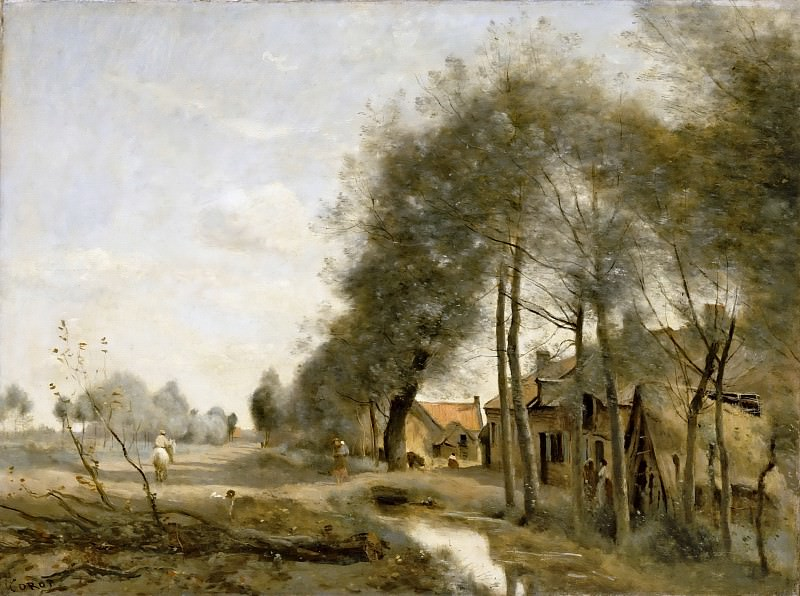 Jean-Baptiste-Camille Corot -- The route to Sin-le-Noble, near Douai. Part 5 Louvre