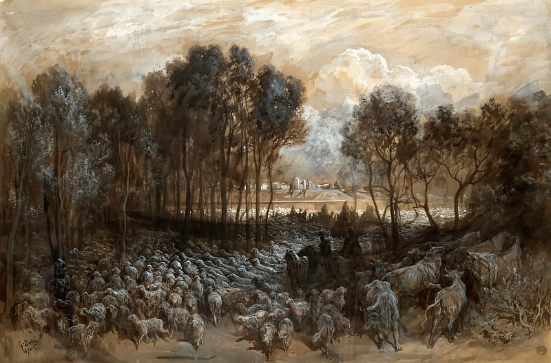 Gustave Doré -- Gathering of the herd in the Bois de Boulogne. Part 5 Louvre
