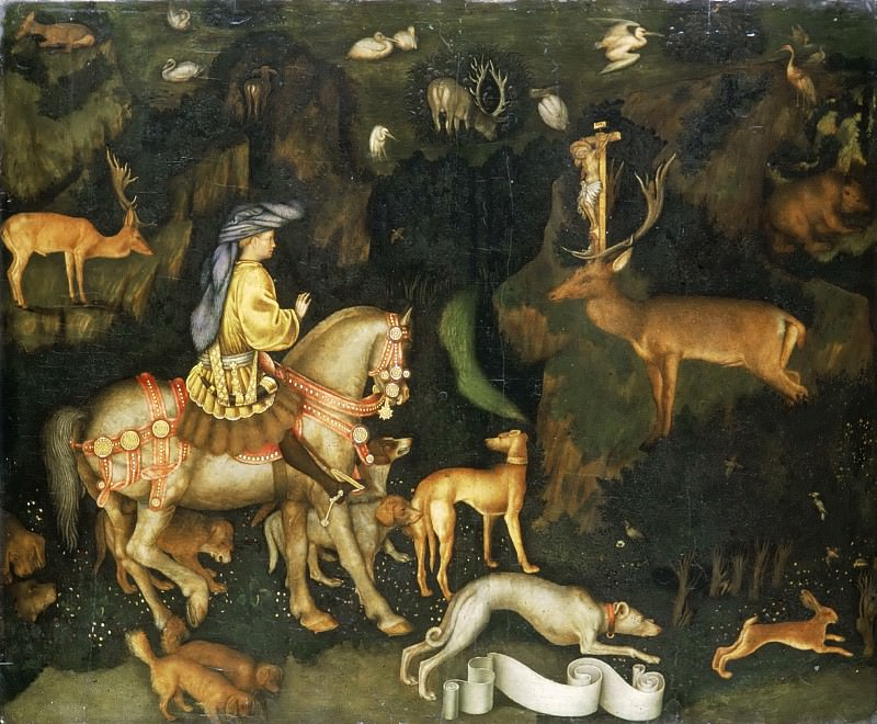 Pisanello, 1395-ca. 1455 -- The Vision of St. Eustace. Part 5 Louvre