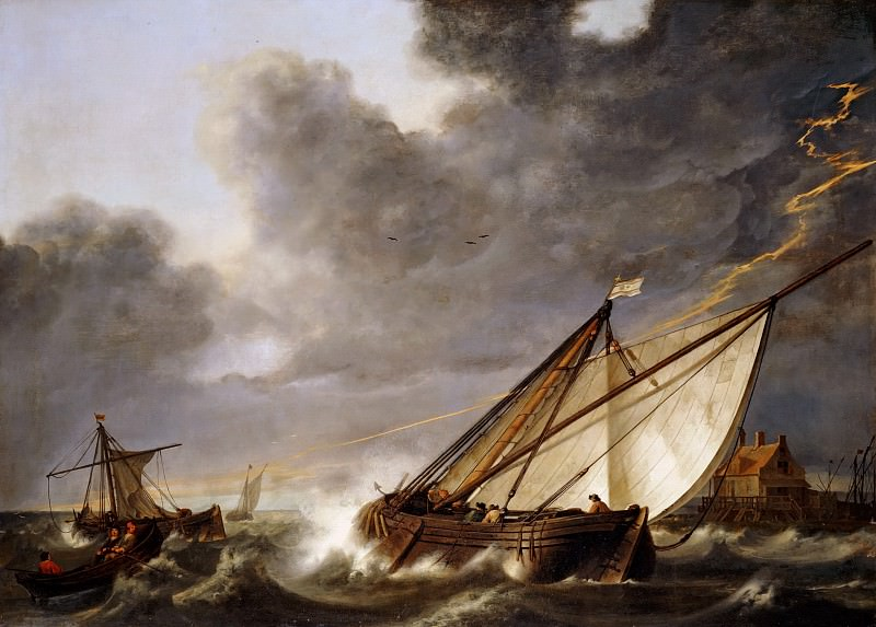 Aelbert Cuyp -- Boats Running Before a Storm. Part 5 Louvre