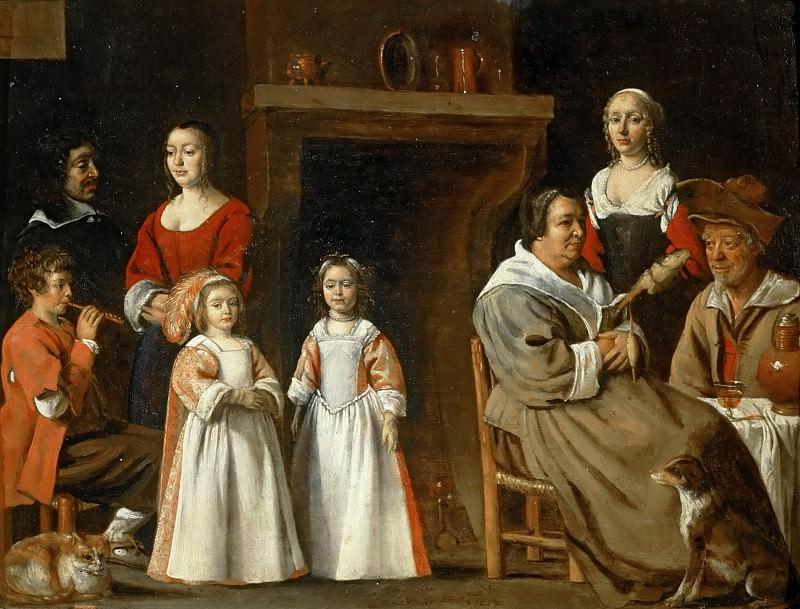 Antoine Le Nain (c. 1588-1648), Louis Le Nain (c. 1593-1648) or Mathieu Le Nain (1607-1677) -- Portraits in an Interior. Part 5 Louvre