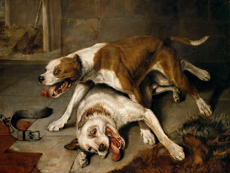 Edwin Landseer (1802-1873) -- Fighting Dogs Pausing for Breath. Part 5 Louvre