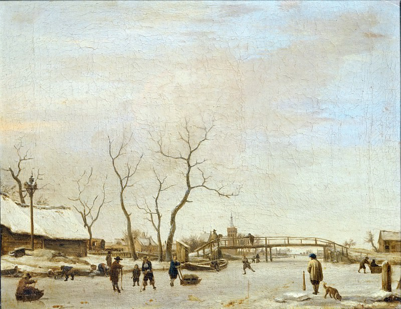 Adriaen van de Velde -- Frozen Canal (or River?) with Skaters and Hockey Players. Part 5 Louvre