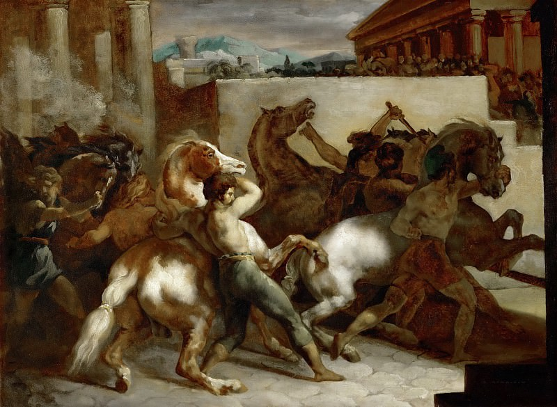 Жерико, Теодор (1791 Руан - 1824 Париж) -- Бега необъезженных лошадей в Риме. часть 5 Лувр