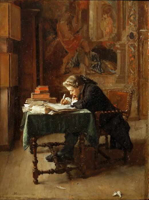 Месонье, Жан-Луи-Эрнест (1815 Лион - 1891 Париж) -- Пишущий молодой человек. часть 5 Лувр