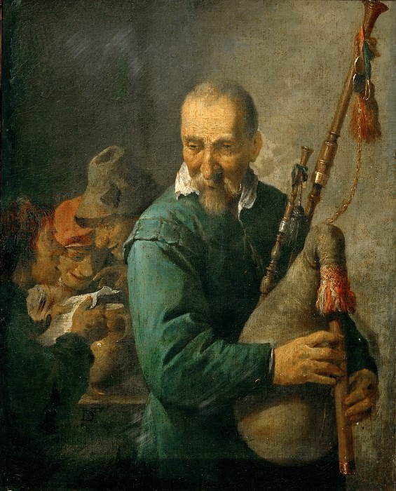 David Teniers II -- The Bagpiper, also called The Piper. Part 5 Louvre