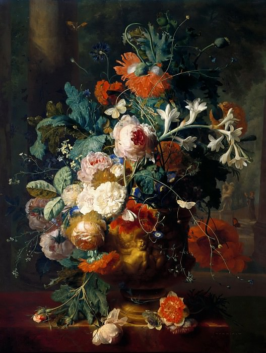 Jan Van Huysum -- Vase of Flowers in a Park with Statue. Part 5 Louvre