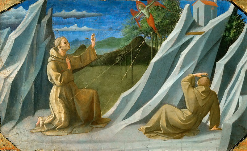 Francesco Pesellino (c. 1422-1457) -- Saint Francis of Assisi Receiving the Stigmata. Part 5 Louvre