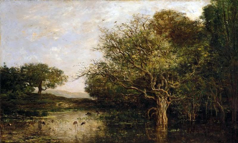 Добиньи, Шарль-Франсуа (Париж 1817-1878) -- Пруд с цаплями. часть 5 Лувр