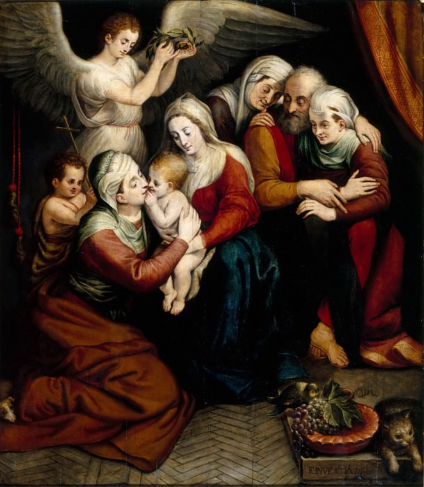 Workshop of Frans Floris the Elder -- Holy Family with Saints Anne, Elizabeth and the Infant John the Baptist. Part 5 Louvre