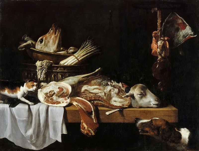 Pierre Boucle -- Meat from the Butcher with Dog and Cat. Part 5 Louvre