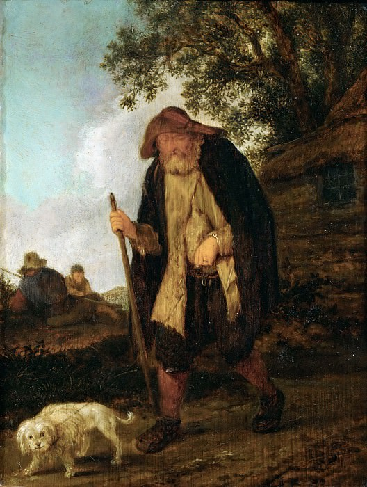 Isack van Ostade -- A blind man and his dog. Part 5 Louvre