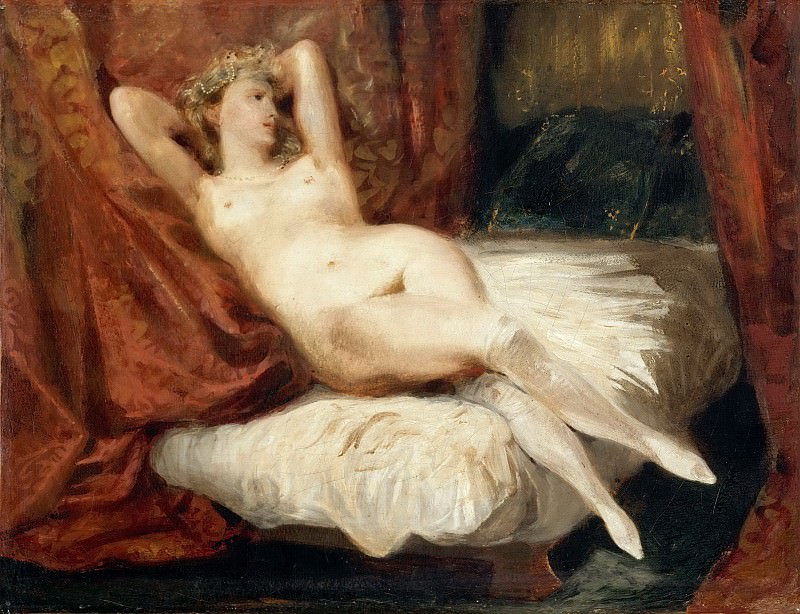 Eugène Delacroix -- Study of a nude woman, sleeping on a divan, called 'The Woman of White Stockings'. Part 5 Louvre