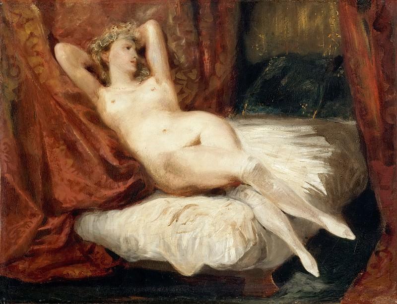 Делакруа, Эжен (1798 Шарантон-Сен-Морис - 1863 Париж) -- Обнаженная на диване. часть 5 Лувр