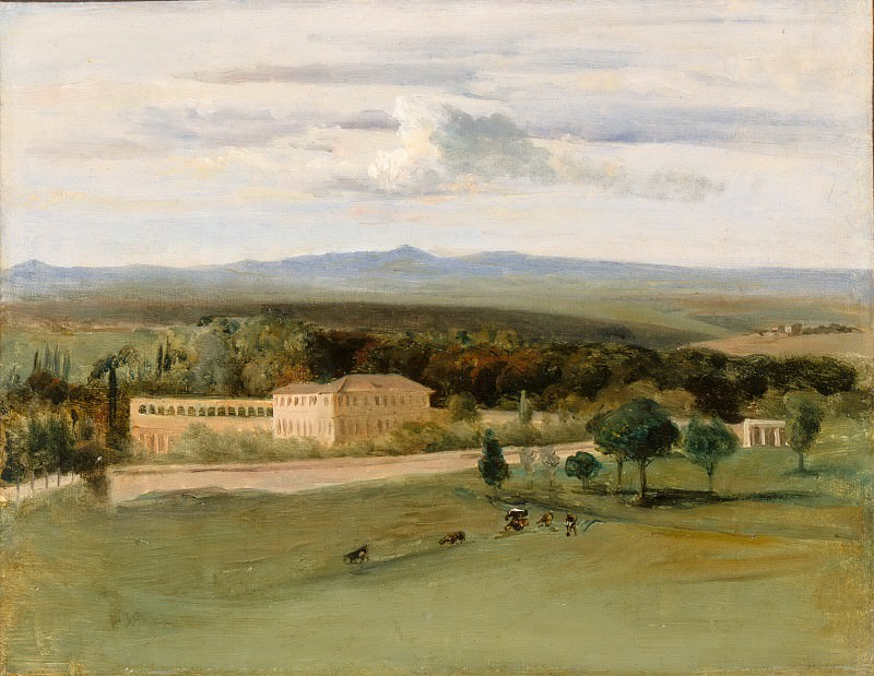 Edouard Cibot -- View of Rome: The Orangerie of the Villa Borghese seen from the Villa Medicis. Part 5 Louvre