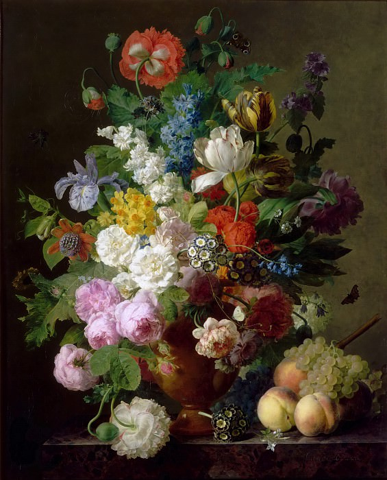 Jan Frans van Dael -- Vase of flowers, grapes and peaches. Part 5 Louvre