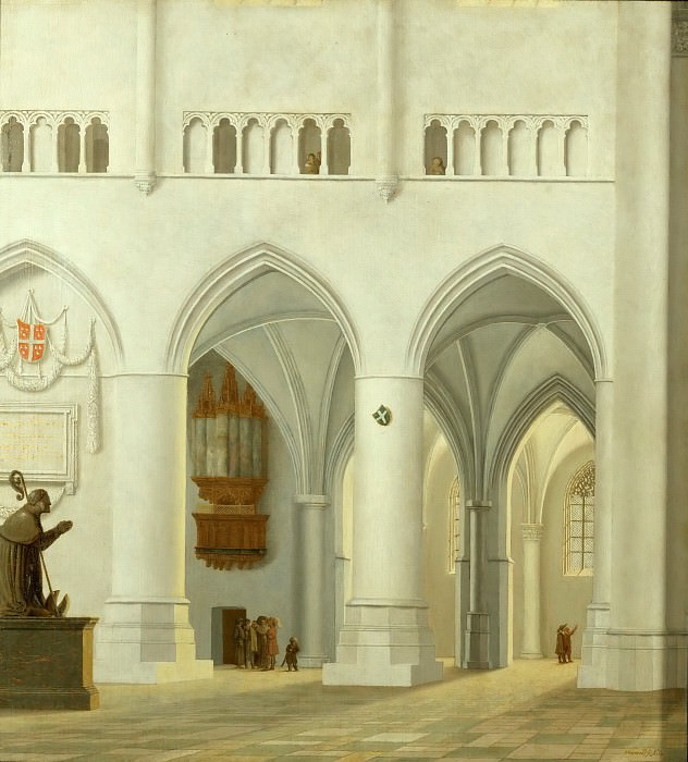 Pieter Jansz. Saenredam (1597-1665) -- Interior of the Church of Saint Bavo at Haarlem. Part 5 Louvre