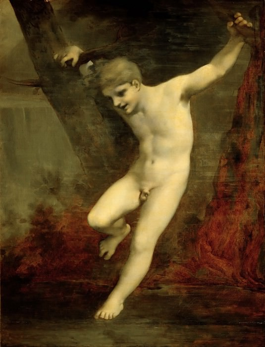 Pierre-Paul Prud'hon (1758-1823) -- Young Zephyr Swinging Above the Water, study. Part 5 Louvre