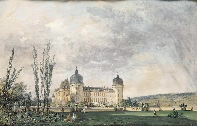 Louis Gabriel Moreau -- View of the château de Valençay, near the terraces, with a couple promenading. Part 5 Louvre
