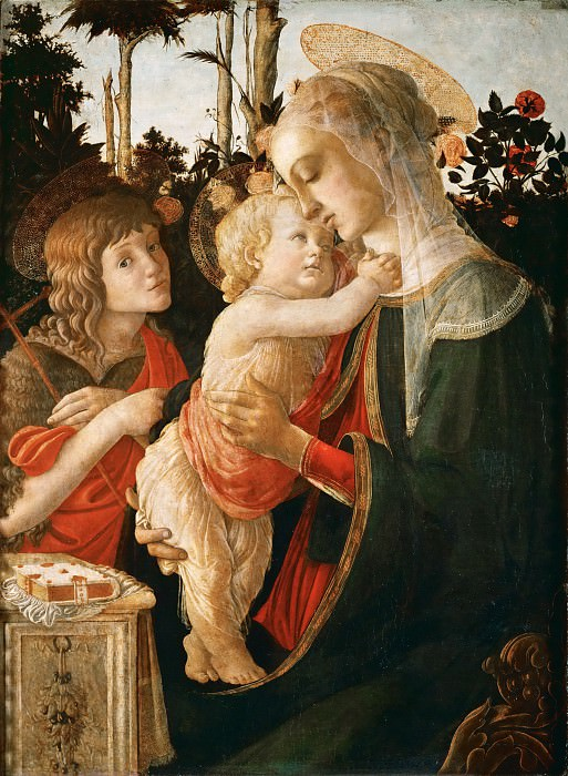 Sandro Botticelli (1444 or 1445-1510) -- Madonna and Child with Saint John the Baptist. Part 5 Louvre