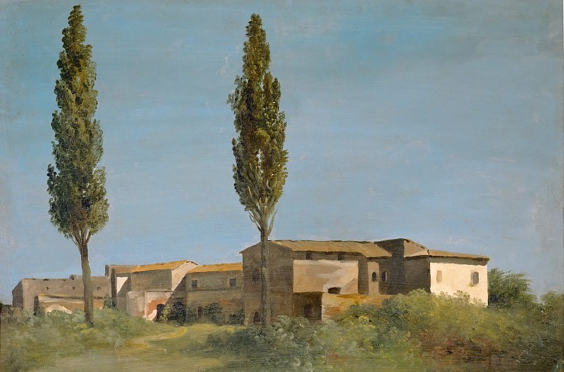 Pierre Henri de Valenciennes -- At the Villa Farnese: The Two Poplars. Part 5 Louvre