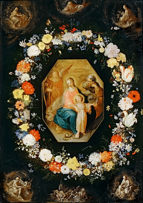 Frans Francken II -- Holy Family framed in a garland of flowers. Part 5 Louvre