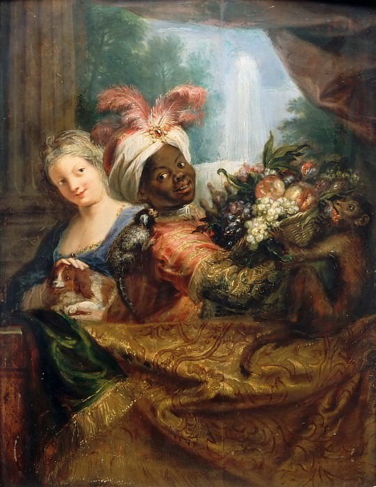 Antoine Coypel -- Young black woman holding a basket of fruit and a young woman petting a dog. Part 5 Louvre