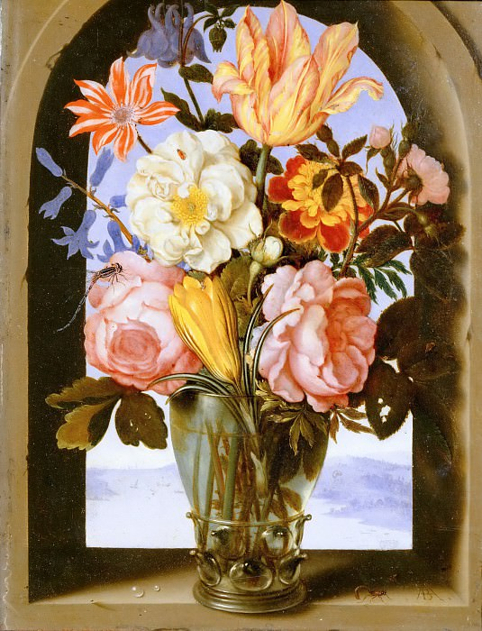 Ambrosius Bosschaert the Younger (1609-1645) -- Bouquet of Flowers in a Stone Window Frame Opening onto a Landscape. Part 5 Louvre