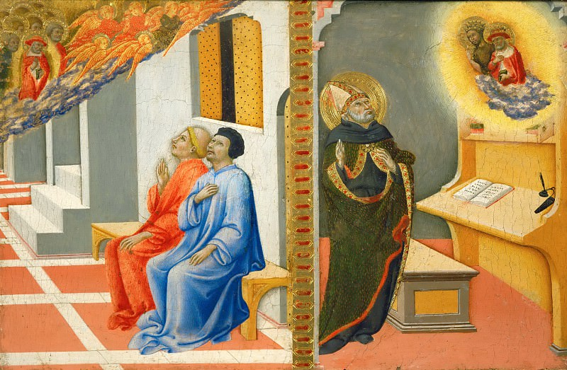 Sano di Pietro (1405-1481) -- Saint Jerome Appearing to Sulpicius Severius and with John the Baptist Saint Augustine. Part 5 Louvre