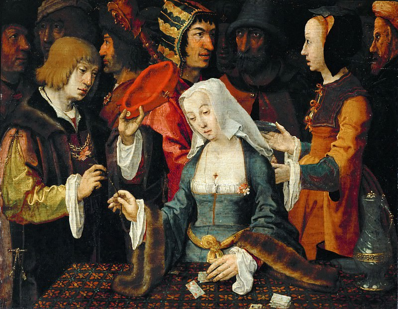 Lucas van Leyden -- The Fortune Teller, with a Fool. Part 5 Louvre