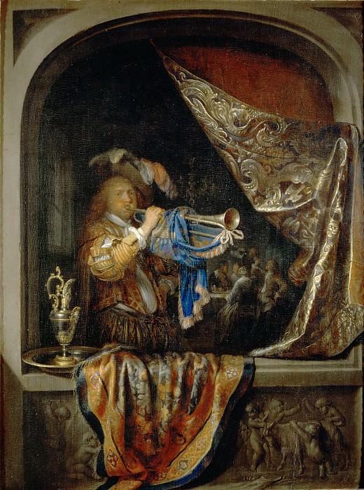Gerrit Dou -- The Trumpeter. Part 5 Louvre
