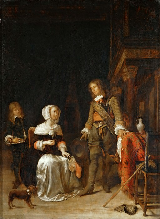 Gabriel Metsu -- Young Woman with a Military Visitor. Part 5 Louvre