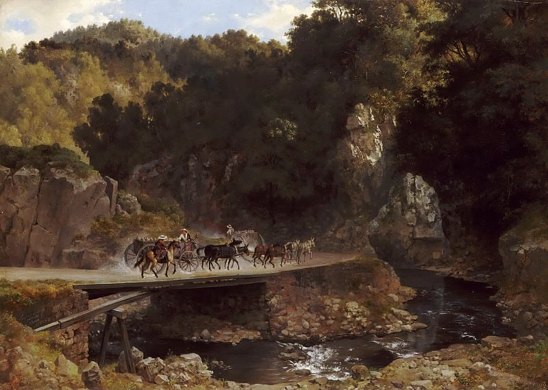 Eugenio Landesio -- Mountainous Landscape in Mexico with Donkey Carts Crossing a Bridge. Part 5 Louvre